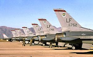 63d Fighter Squadron - 63d Fighter Squadron - F-16s on ramp, Luke AFB, Arizona, 2003