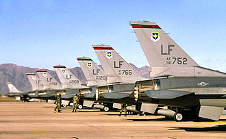 63d Fighter Squadron - 63d Fighter Squadron - F-16s on ramp, Luke AFB, Arizona, 2003