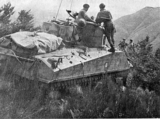 6th Armoured Division (South Africa) - Pretoria Regiment Sherman on the summit of Monte Albano north west of Florence after crossing the Arno River