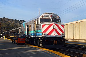 Amtrak California - A leased NPCU leads a single level set at Martinez