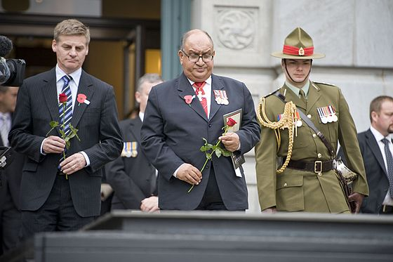 English (left) at a 2011 Anzac Day service in Wellington, alongside then-Governor-General Sir Anand Satyanand (centre) ANZAC Day service at the National War Memorial - Flickr - NZ Defence Force (13).jpg