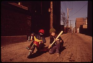Big wheel (tricycle) - A child on a big wheel in 1973 (Rogers Park, Chicago)