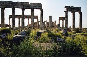 Apamea, Syria - Colonnade street, detail, Apamea in 2002