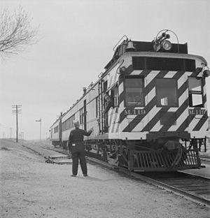 Doodlebug (rail car) - ATSF doodlebug M119, Isleta, New Mexico. 1943