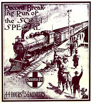Scott Special - The cover of a booklet released by the railway to commemorate the Scott Special. Theodore Roosevelt is depicted on a horse, though he did not witness the event.