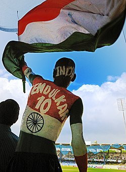 A Cricket fan at the Chepauk stadium, Chennai.jpg