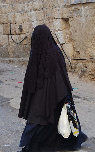 Burqa - A member of the Haredi burqa sect in Meah Shearim, Israel