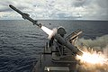 A harpoon missile launches from the missile deck of USS Coronado. (36566322462).jpg