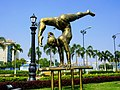 A statue of a gymnast in Vivekananda Yuba Bharati Krirangan.jpg