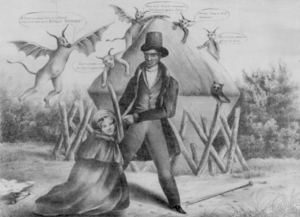 An 1833 print illustrating the widely held bel...
