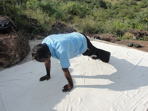 A view of Surya namaskar position 4