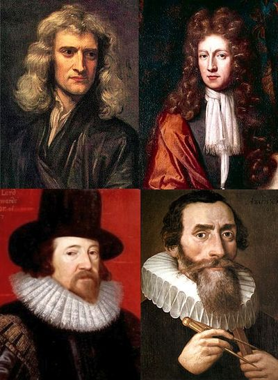 Set of pictures for a number of notable scientists self-identified as Christians: Isaac Newton, Robert Boyle, Francis Bacon and Johannes Kepler. Active Christians in Science.jpg