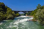 Adda and A4 bridge with whitewater from Crespi d'Adda footbridge.jpg