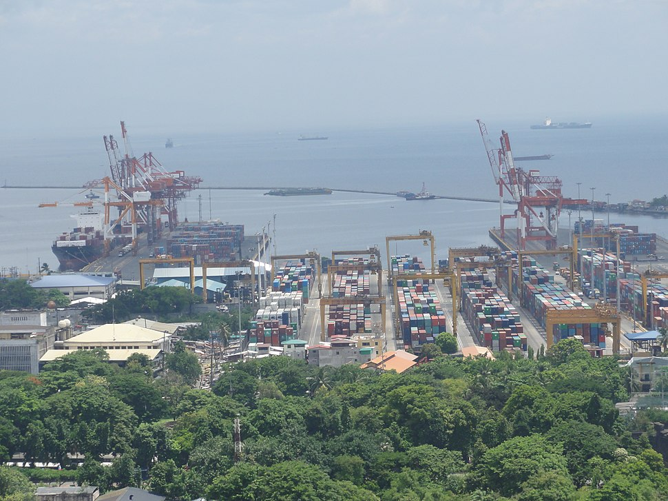 Aerial view of Manila Port's International Container terminal