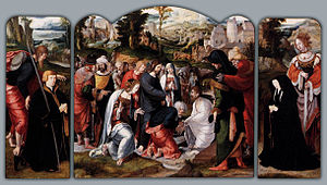 Aertgen van Leyden - Triptych with the raising of Lazarus, circa 1530