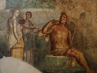 "Roman mythology - Polyphemus hears of the arrival of Galatea; ancient Roman fresco painted in the ""Fourth Style"" of Pompeii (45-79 AD)"