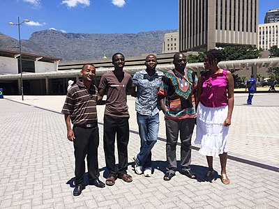Wikipedians from across Africa attend WikiAfrica's Open Africa 2014 course in Cape Town in February 2014. From left: Abel Asrat, Rexford Nkansah, Michael Phoya, Cyriac Gbogou, and Erina Mukuta.