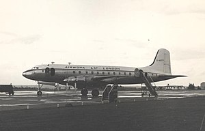 Airwork Services - Airwork Ltd Handley Page Hermes IV on a trooping flight at Blackbushe Airport in 1954