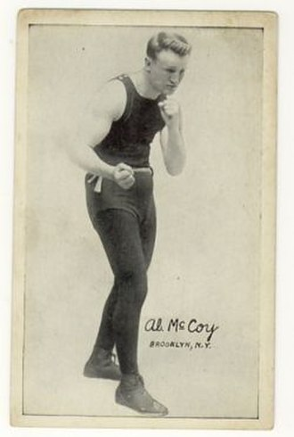 Southpaw stance - Al McCoy, world champion in the 1910s, displaying southpaw stance with right hand and right foot to the fore.