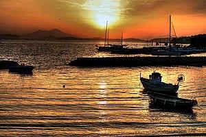 Lacco Ameno - Sunset at the small port.