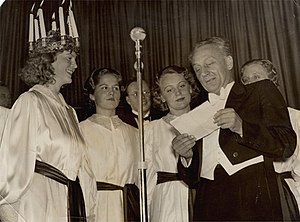 Saint Lucy's Day - Albert Szent-Györgyi, who won the Nobel Prize in Physiology or Medicine in 1937, here at that year's Saint Lucy celebration in Stockholm