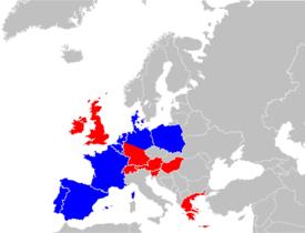 """A map of the countries in Europe where Aldi operates, red: """"Aldi Süd"""", dark blue:""""Aldi Nord"""""""