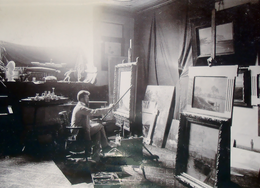 Alexander Kircher in his painting studio in Trieste in 1903.png