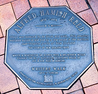 Alfred Hamish Reed - Memorial plaque dedicated to Alfred Hamish Reed in Dunedin, on the Writers' Walk on the Octagon