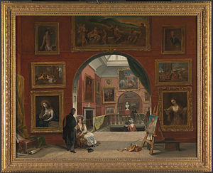 Lucretia (Rembrandt, 1664) - Interior of the British Institution in London in 1832, with this painting shown lower right, by Alfred Joseph Woolmer