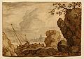 Allaert van Everdingen - Rotsen langs een Fjord met een boot op de wal.jpg