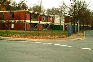 Asylum in Germany - Refugee housing constructed from repurposed shipping containers in Hannover, Germany.