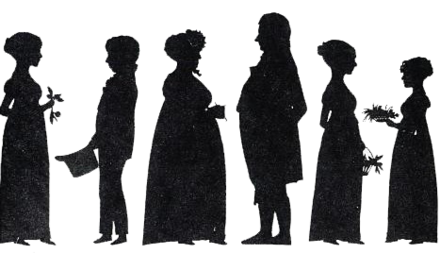 A silhouette (ca. 1815-1820) of Ibsen's mother (far right), grandparents and other relatives Altenburg2.png