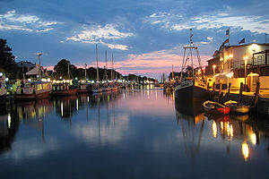 Canal - The Alter Strom, in the sea resort of Warnemünde, Germany.