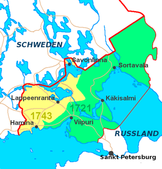 1743 in Sweden - Old Finland. The area in yellow was given to the Russian empire .