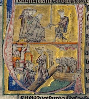 Shirkuh - 13th century European depiction of Adîd abû Muhammad and Shîrkûh (upper panel), with the arrival of Amalric at Constantinople (lower panel)