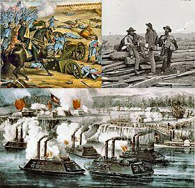 En haut à gauche: Armée nordiste à Stones River, Tennessee; en haut à droite: des prisonniers confédérés à Gettysburg; en bas: la bataille de Fort Hindman, en Arkansas.