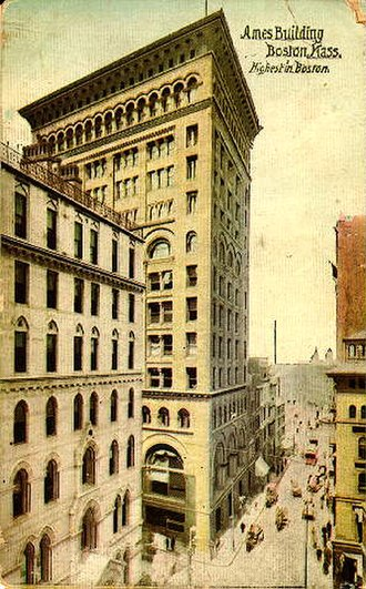 National Register of Historic Places listings in northern Boston - Image: Ames Building Boston 1893