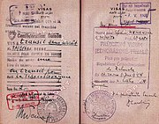 An Israeli pilots passport page who flew to Czechoslovakia to bring back to Israel the Avia S-199