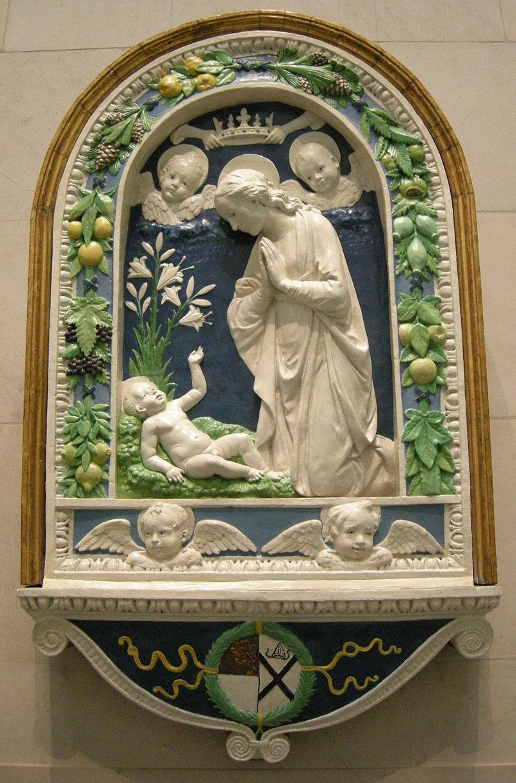 Andrea della robbia, adorazione del bambino, post 1477.JPG