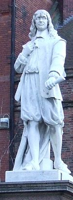 A statue of Andrew Marvell, located in King Street, Kingston upon Hull, UK
