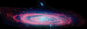 Imagen de la galaxia Andrómeda tomada por el telescopio Spitzer. ¿Pueden llegar hasta nosotros sucesos acaecidos tan sólo 100.000 años atrás? Evidentemente no. Se dice por tanto que entre tales eventos y nosotros existe un intervalo espacial.