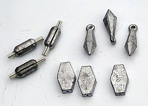 Three types of small lead sinkers