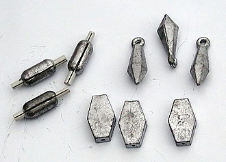 Fishing sinker - Three types of small lead sinkers