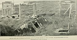 Native Huts and Storage Platforms, with Platform Graves in the Distance, Teller Reindeer station (1894)