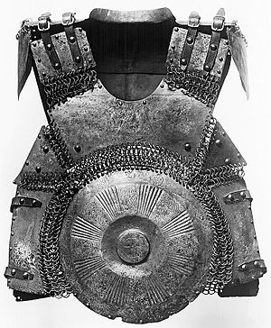 Mirror armour - Early 16th century Ottoman mirror armour (krug), a distinctively Ottoman protection consisting of large round steel plates in the front and back connected by mail.