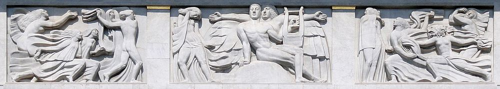 Antoine Bourdelle, 1910–12, Apollon et sa méditation entourée des 9 muses (The Meditation of Apollo and the Muses), bas-relief, Théâtre des Champs Elysées, Paris. This work represents one of the earliest examples of what became known as Art Deco sculpture