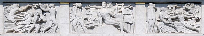 Antoine Bourdelle, 1910-12, Apollon et sa m%C3%A9ditation entour%C3%A9e des 9 muses (The Meditation of Apollon and the Muses), bas-relief, Th%C3%A9%C3%A2tre des Champs Elys%C3%A9es DSC09313.jpg