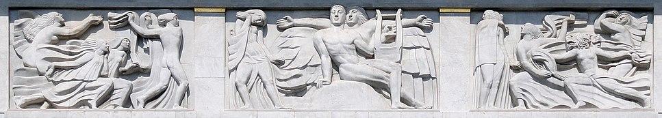 Antoine Bourdelle, 1910–12, Apollon et sa méditation entourée des 9 muses (The Meditation of Apollo and the Muses), bas-relief, Théâtre des Champs Elysées, Paris. This work represents one of the earliest examples of what became known as Art Deco sculpture