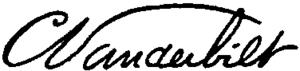 Cornelius Vanderbilt II - Image: Appletons' Vanderbilt Cornelius (capitalist) signature