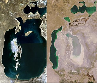 Environmental resource management - The shrinking Aral Sea, an example of poor water resource management diverted for irrigation.